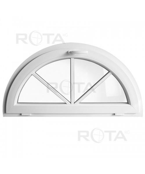 Ventana semi redonda oscilante de PVC blanco con barrotillos pegados
