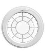 Ventana redonda oscilante de PVC blanco con barrotillos motivo telaraña