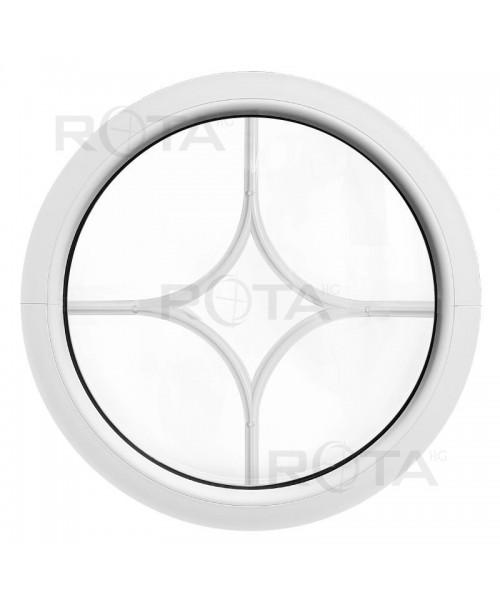 Ventana redonda fija de PVC blanco con barrotillos motivo diamante