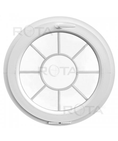 Ventana redonda oscilante de PVC blanco con barrotillos motivo sol