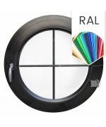 Ventana redonda practicable de PVC color RAL con barrotillos ingléses