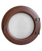 Ventana redonda practicable de PVC color RAL con vidrio texturizado